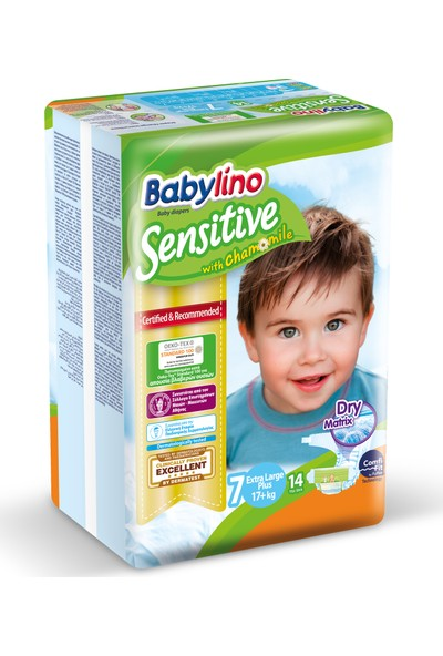 Babylino Sensitive Bebek Bezi 7 Beden Ekstra Large Plus 14 Adet