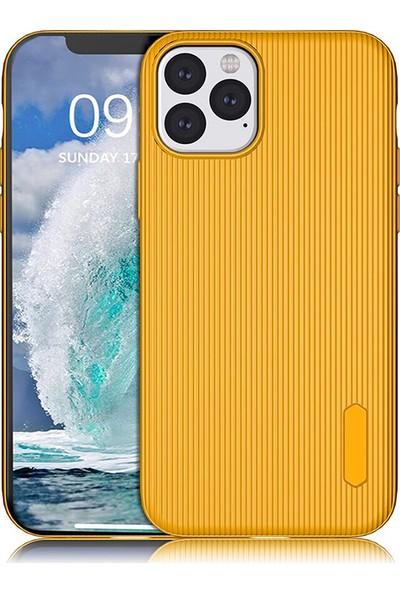 KNY Apple iPhone 11 Pro Kılıf Ultra Korumalı Lux Line Silikon + Cam Ekran Koruyucu Sarı