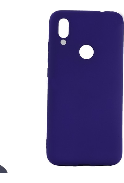 KNY Meizu Note 9 Kılıf Ultra İnce Mat Silikon + Cam Ekran Koruyucu Mavi