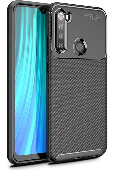 KNY Xiaomi Redmi Note 8 Kılıf Karbon Desenli Lux Negro Silikon + Cam Ekran Koruyucu Siyah