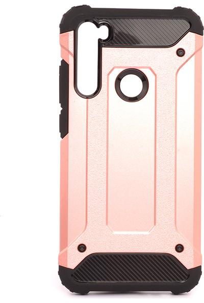 KNY Xiaomi Redmi Note 8 Kılıf Ultra Korumalı Çift Katmanlı Armour Case + Cam Ekran Koruyucu Rose Gold