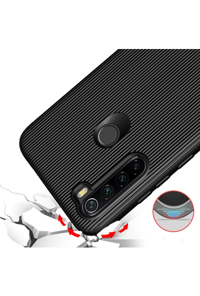 KNY Xiaomi Redmi Note 8 Kılıf Ultra Korumalı Lux Line Silikon + Cam Ekran Koruyucu Siyah