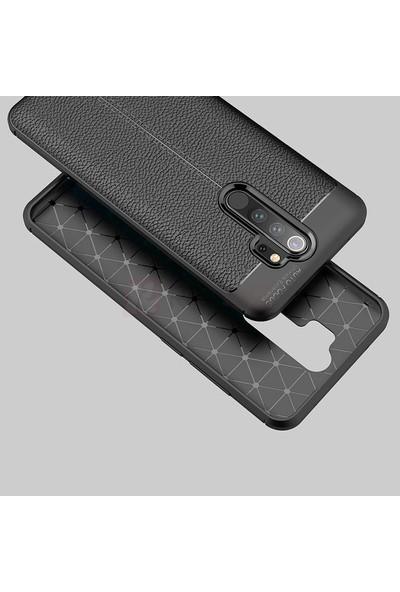 KNY Xiaomi Redmi Note 8 Pro Kılıf Deri Desenli Lux Niss Silikon + Nano Cam Ekran Koruyucu Siyah