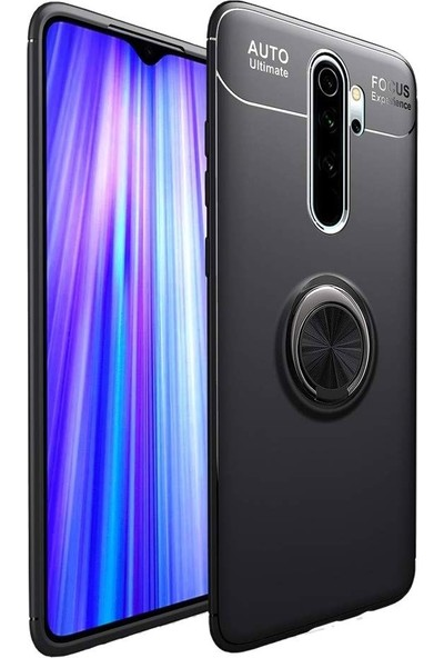 KNY Xiaomi Redmi Note 8 Pro Kılıf Ultra Korumalı Manyetik Ravel Silikon + Cam Ekran Koruyucu Siyah
