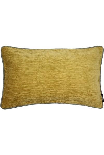 Mcalister Textiles Alston Chenille Yastık Kılıfı | Hardal Koyu Gri Renk Şönil Kumaş Dekoratif Kırlent 50 x 30 cm