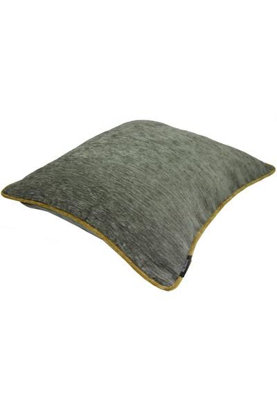 Mcalister Textiles Alston Chenille Yastık Kılıfı | Koyu Gri Hardal Düz Renk Şönil Kumaş Dekoratif Kırlent 43 x 43 cm
