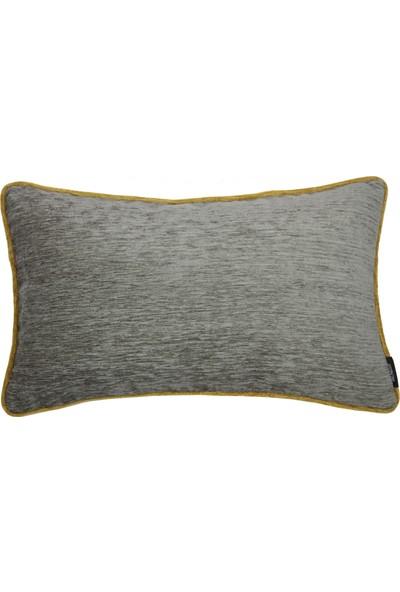 Mcalister Textiles Alston Chenille Yastık Kılıfı | Koyu Gri Hardal Düz Renk Şönil Kumaş Dekoratif Kırlent 50 x 30 cm