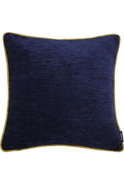 Mcalister Textiles Alston Chenille Yastık Kılıfı | Lacivert Hardal Düz Renk Şönil Kumaş Dekoratif Kırlent 43 x 43 cm