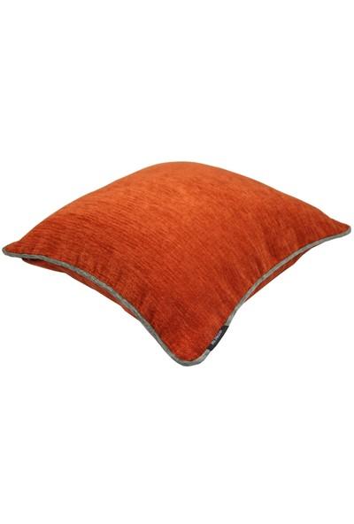 Mcalister Textiles Alston Chenille Yastık Kılıfı | Turuncu Koyu Gri Renk Şönil Kumaş Dekoratif Kırlent 43 x 43 cm