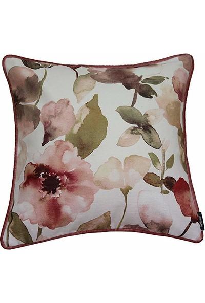 Mcalister Textiles Blush Yastık Kılıfı | Açık Pembe Kadife Çiçek Baskılı Dekoratif Kare Kırlent 43 x 43 cm