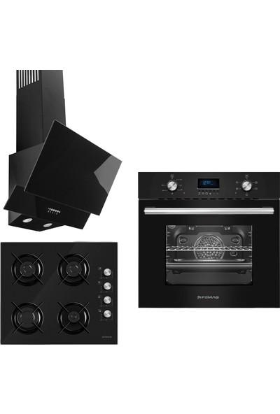 Femaş Siyah Inci 3'lü Ankastre Set ( 5002 Multifonksiyon Siyah Fırın + 3140 Ce Siyah Cam Ocak+ Fd 101 Yatay Siyah Cam Davlumbaz)