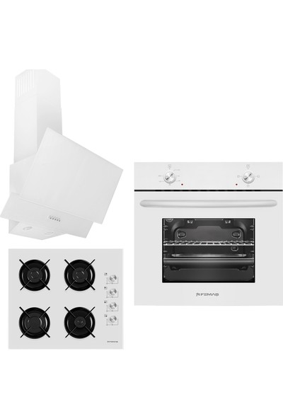 Femaş Beyaz Mercan 3'lü Ankastre Set ( 1001 Multifonksiyon Beyaz Fırın + 3140 Ce Beyaz Cam Ocak+ Fd 102 Yatay Beyaz Cam Davlumbaz)