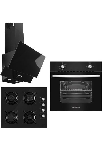 Femaş Siyah Mercan 3'lü Ankastre Set ( 1002 Multifonksiyon Siyah Fırın + 3140 Ce Siyah Cam Ocak + Fd 101 Yatay Siyah Cam Davlumbaz)