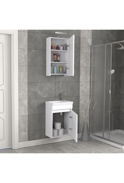 Biani Fix Edremit 45 cm Parlak Beyaz Banyo Dolabı