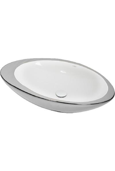 Lucco Gocce 74 cm Elips Lavabo Içi Beyaz Dışı Gümüş Renk