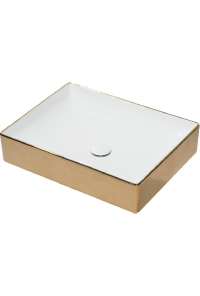 Lucco Square 50 cm Dikdörtgen Lavabo Içi Beyaz Dışı Komple Altın