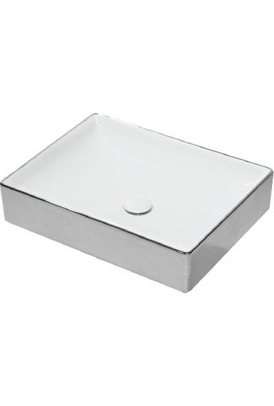 Lucco Square 50 cm Dikdörtgen Lavabo Içi Beyaz Dışı Gümüş Renk