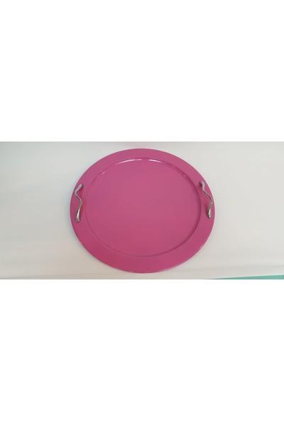 Desen Dekorasyon Metal Çay Tepsisi Pembe Renk