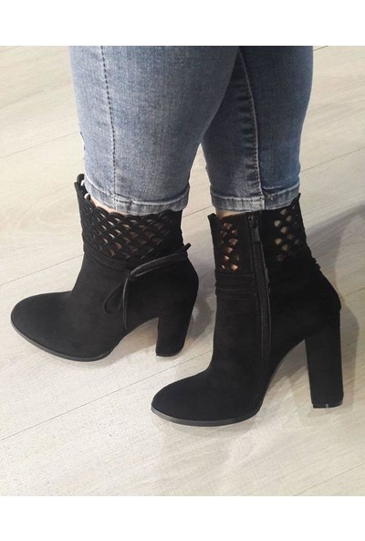 Cudo Siyah Süet Kadın Topuklu Bot-345454
