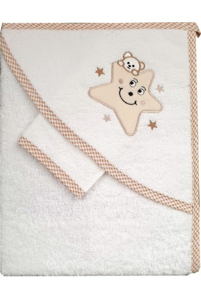 Nazbaby Yıldızlı Bebek Havlusu Krem