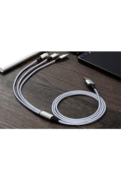 GOB2C Örgülü Tipc/Lightning /Mikrousb Hızlı Şarj Veri Kablosu