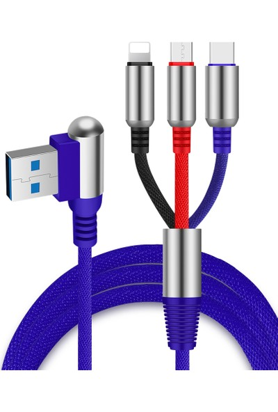GOB2C Mikrousb + Tipc + Lightning Şarj Kablosu