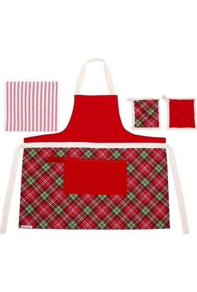 Db Handmade Ekose Mutfak Önlük Takımı