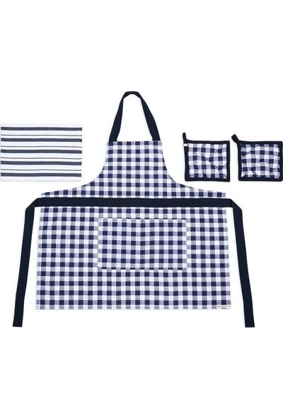 Db Handmade Kareli Mutfak Önlük Takımı