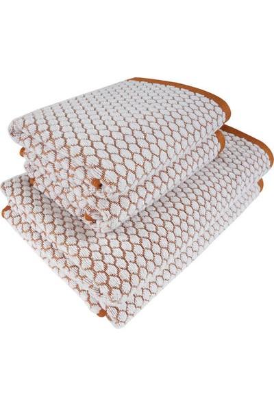 Maisonette 4 Lü Havlu Seti Lace Turuncu-Beyaz
