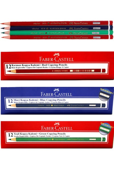 Faber-Castell Kırmızı 12'li - Yeşil 12'li - Mavi 12'li Kopya Kalemi
