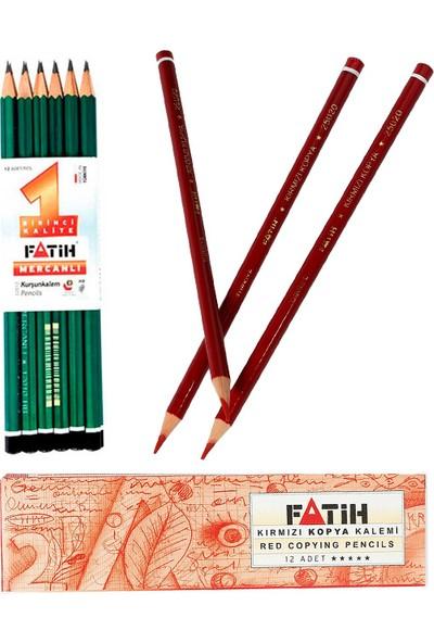 Fatih Mercanlı Kurşun 12'li + Kırmızı Kopya Kalemi 12'li