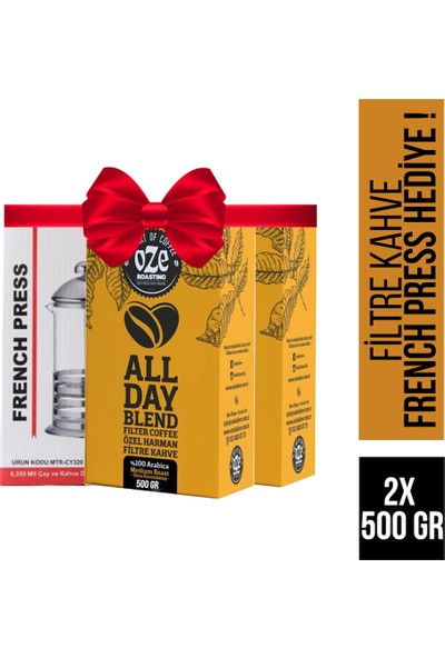 Oze All Day Blend Filtre Kahve 1000 gr + French Press