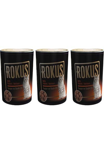 Rokus Tavşan & Geyik Etli 410 g Kedi Konserve Maması 3'lü Ekonomik Paket