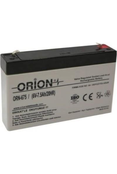 Orion 6V 7.5 Ah 6V 7AH Kuru Bakımsız Akü