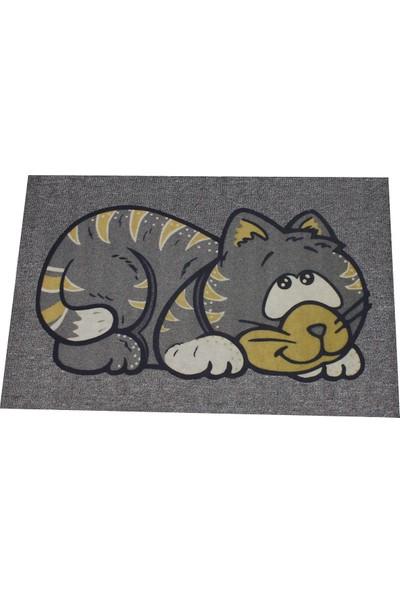 Myfloor Kedi Baskılı Kauçuk Kapı Önü Paspası