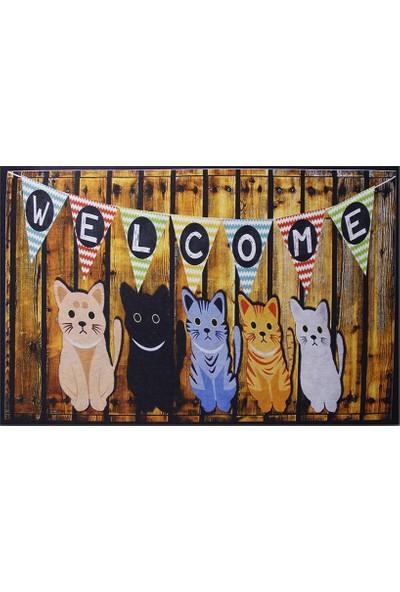 Myfloor Welcome ve Kedi Baskılı Kauçuk Ev Içi Kapı Önü Paspası