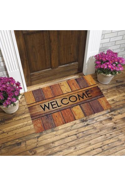 Myfloor Welcome Yazılı Ahşap Görünüm Kauçuk Kapı Önü Paspası