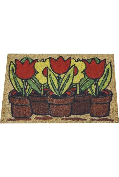 Myfloor Saksıda Çiçekler Desenli Kauçuk Kapı Önü Paspası