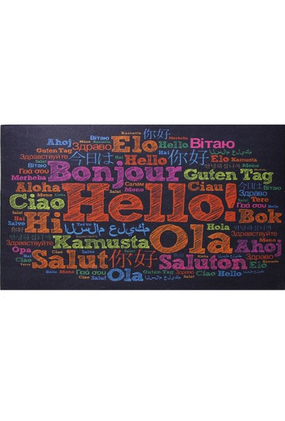 Myfloor Farklı Dillerde Merhaba Yazılı Kauçuk Kapı Önü Paspası
