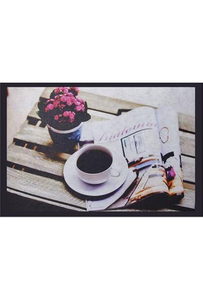 Myfloor Kahve Fincanı Desenli Kauçuk Kapı Önü Paspası