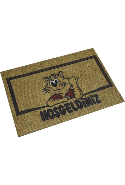 Myfloor Kedi ve Hoşgeldiniz Yazılı Kauçuk Kapı Önü Paspası
