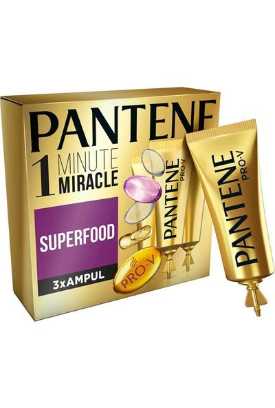 Pantene 1 Minute Miracle Saç Bakım Kürü Superfood 3x15 ml Ampül