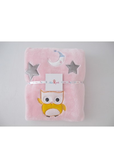 Blue & Pink Sleepy Moon Nakışlı Bebek Battaniye