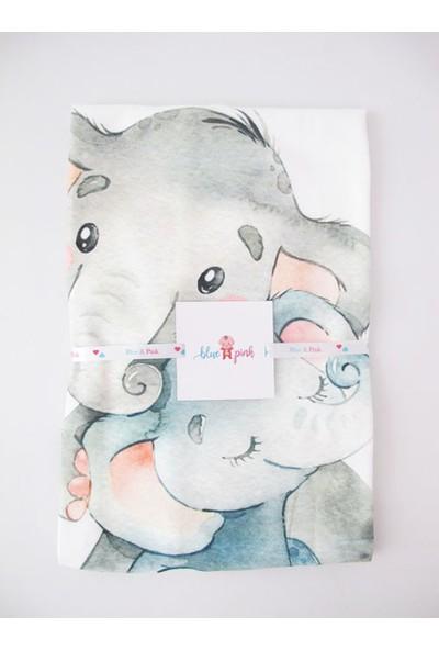 Blue & Pink Ellie Baskılı Polar Battaniye