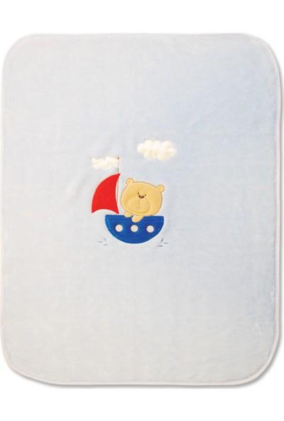 Blue & Pink Bobo Nakışlı Bebek Battaniye