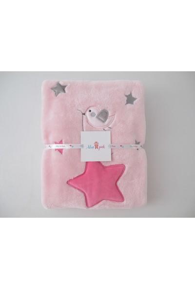 Blue & Pink Sweet Stars Nakışlı Bebek Battaniye