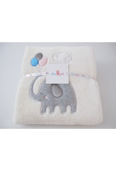 Blue & Pink Elphy Nakışlı Bebek Battaniye