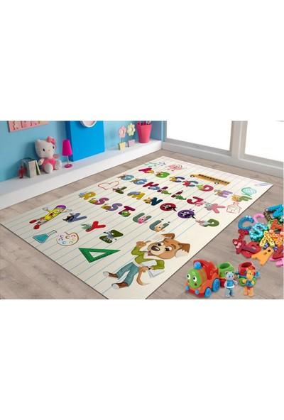 Marateks Alfabe Desenli Kaymaz Taban Çocuk Odası Halısı 100x150