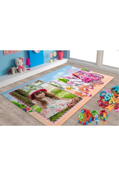 Marateks Barbie Desenli Kaymaz Taban Çocuk Odası Halısı 100x150