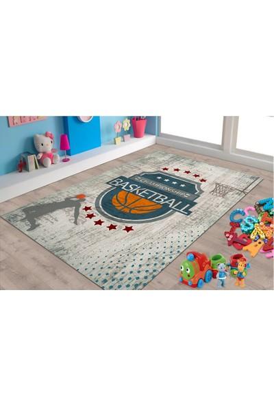 Marateks Basketbol Desenli Kaymaz Taban Çocuk Odası Halısı 100x150